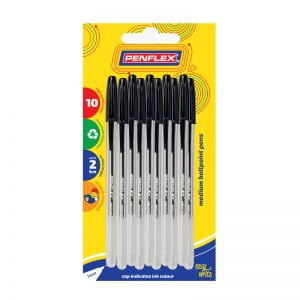 Ballpoint Pen Medium Tip Card of 10 Black