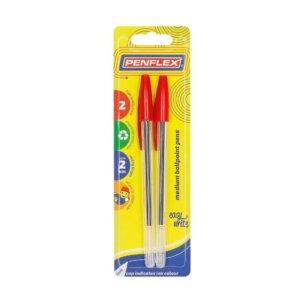 Ballpoint Pen Medium Tip Card of 2 Red