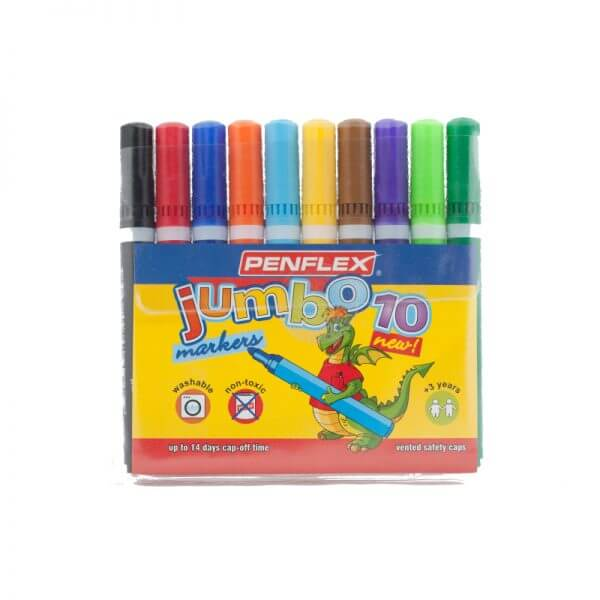 JC13 Jumbo Colouring Pens (10) - Assorted