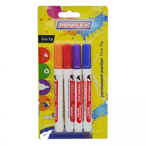 PM13 Permanent Marker Fine Tip 4 Card – Assorted